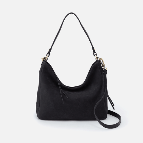 Delilah Black Leather Convertible Crossbody Shoulder Bag