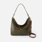 Delilah Green Leather Convertible Crossbody Shoulder Bag