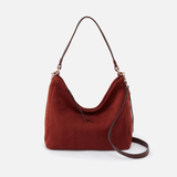 Delilah Red Suede Leather Convertible Crossbody Shoulder Bag