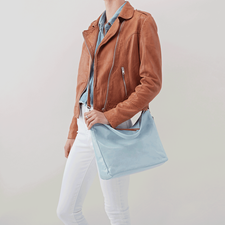 Delilah Blue Leather Crossbody Shoulder Bag