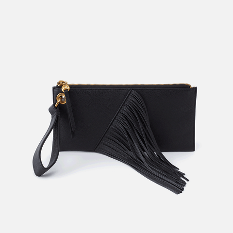 Dizzy Black Leather Wristlet