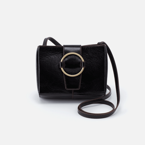 Elan Black Leather Crossbody
