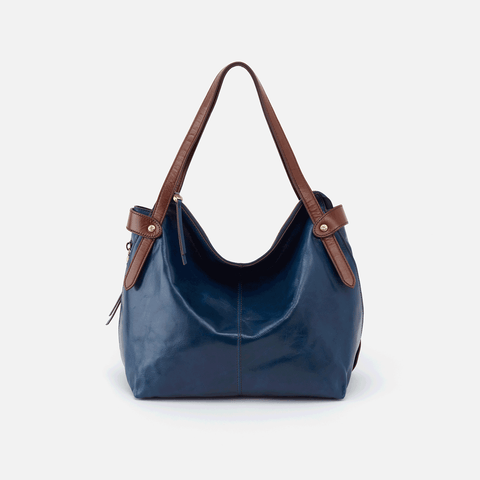 Elegy Blue Leather Satchel