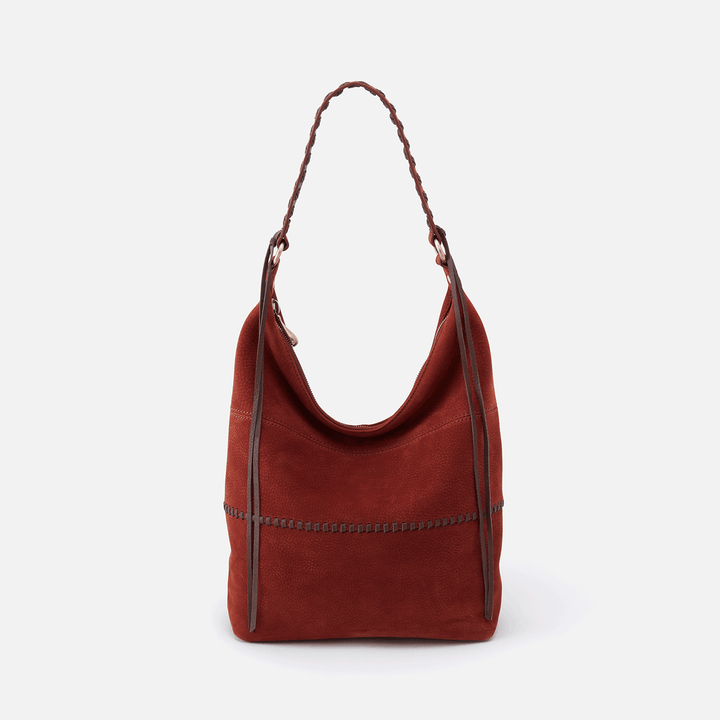 Entwine Red Suede Leather Hobo