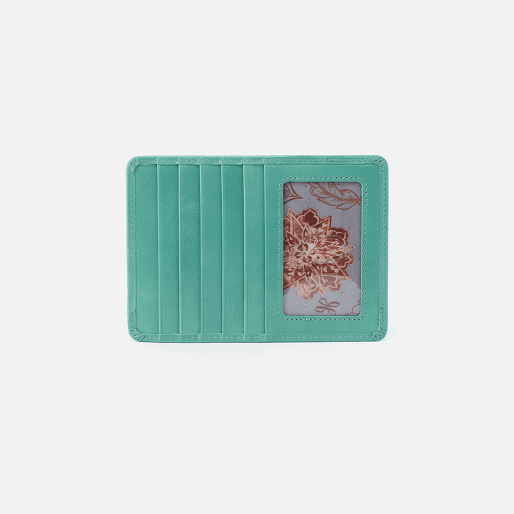 Euro Slide Seafoam Leather Credit Card Wallet