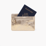Euro Slide Gold Leather Passport Wallet