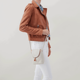 Fern White Leather Small Crossbody
