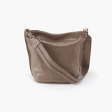 Flare Grey Taupe Leather Shoulder Bag