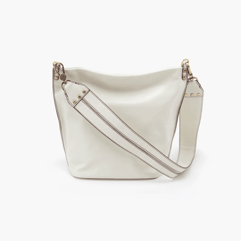 Flare White Leather Shoulder Bag