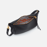 Flywheel Black Leather Belt Bag