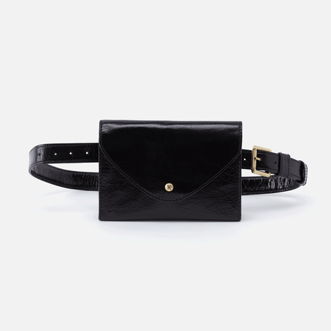 Forte Black Leather Belt Bag
