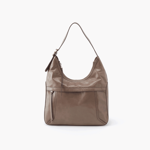 Fortune Grey Taupe Leather Shoulder Bag