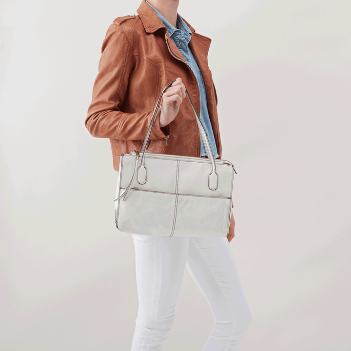 Friar White Leather Satchel