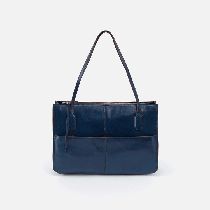 Friar Blue Leather Satchel