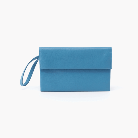 Fuse Blue Leather Wristlet