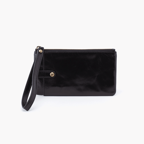 King Black Leather Wristlet