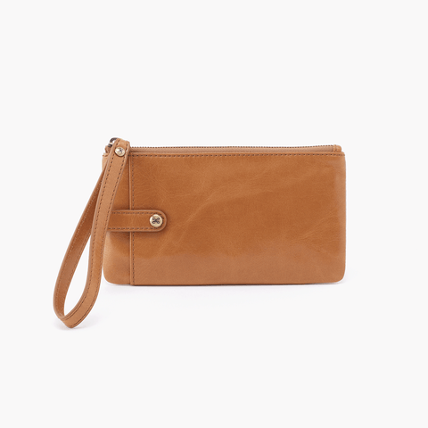 King Cognac Brown Leather Wristlet