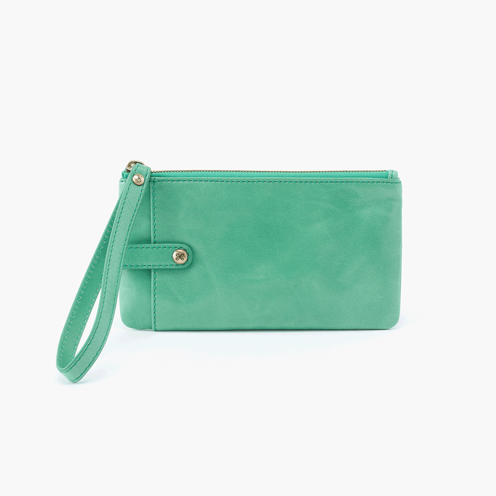 King Light Green Leather Wristlet