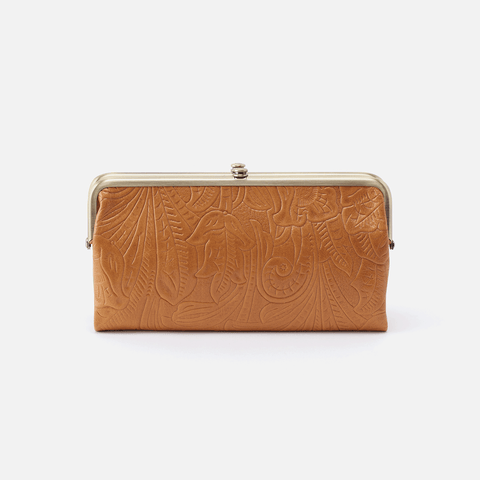 Lauren Embossed Cognac Brown Leather Clutch-Wallet