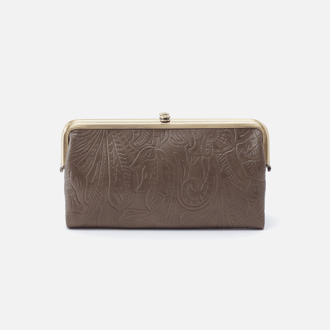 Lauren Embossed Grey Leather Clutch-Wallet