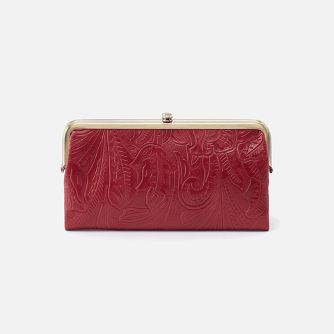 Lauren Embossed Red Leather Clutch-Wallet