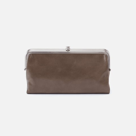 Lauren Grey Leather Clutch-Wallet