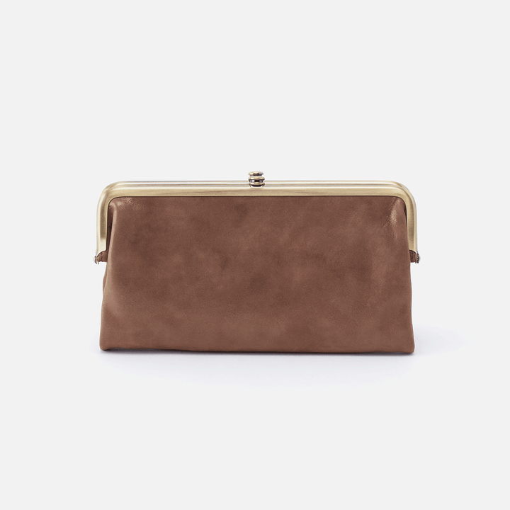 Lauren Metallic Brown Leather Clutch-Wallet