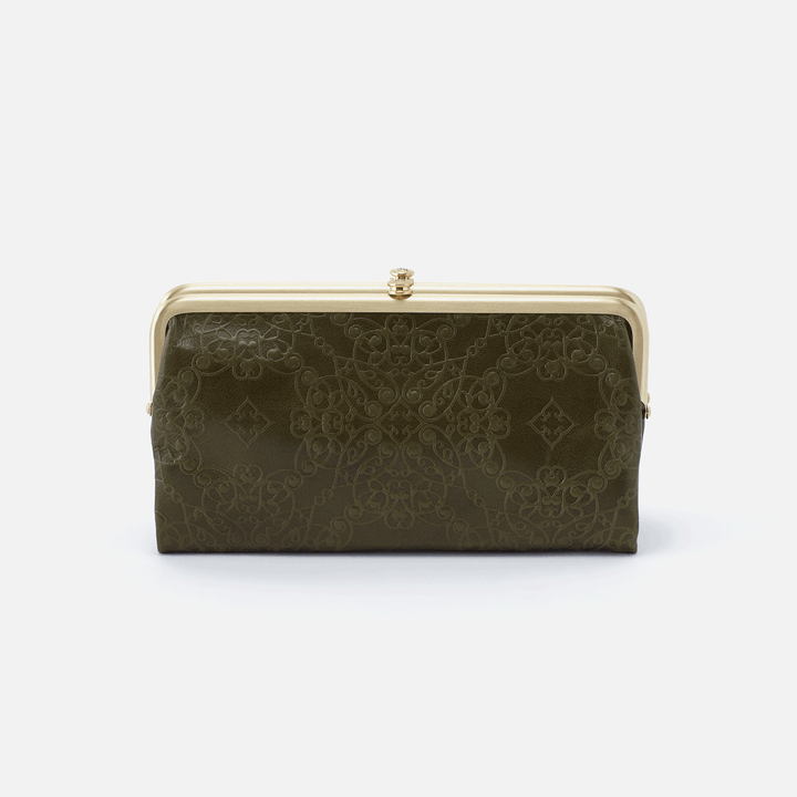 Lauren Embossed Green Leather Clutch Wallet