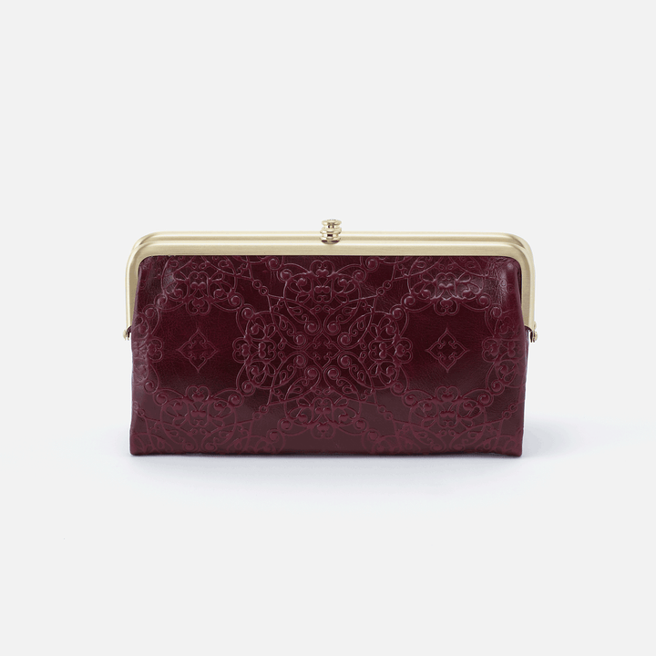 Embossed Deep Plum Lauren Clutch Wallet  Hobo