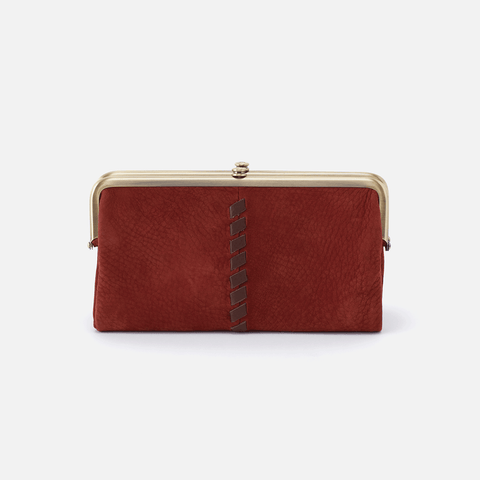Lauren Red Suede Leather Clutch Wallet