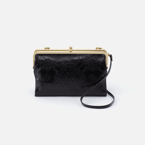 Leanne Embossed Black Leather Crossbody Clutch