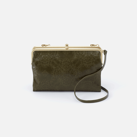 Leanne Embossed Green Leather Crossbody Clutch