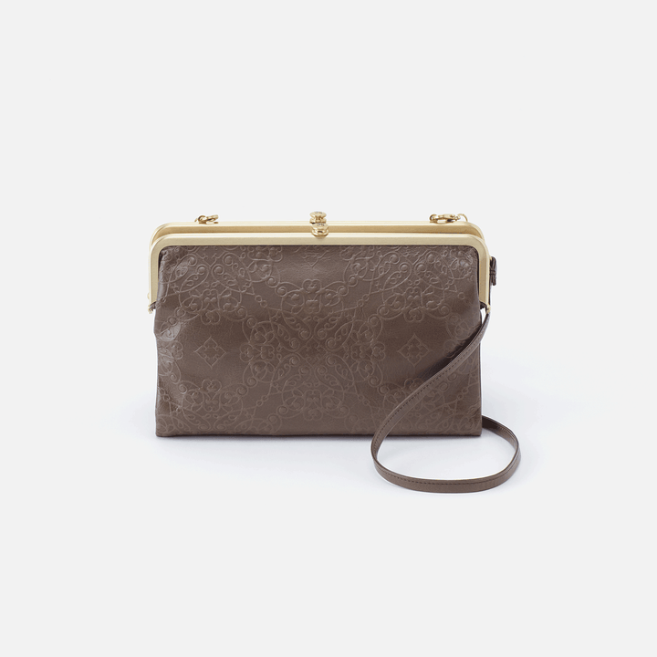 Leanne Embossed Grey Leather Crossbody Clutch