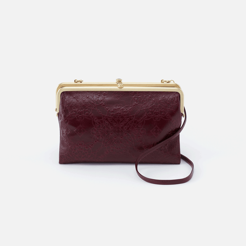 Leanne Embossed Purple Leather Crossbody Clutch