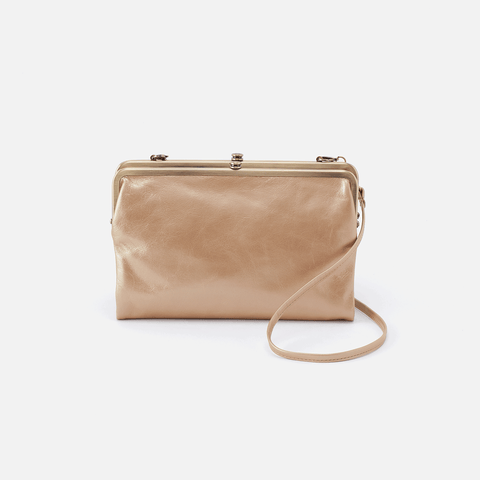 Leanne Gold Leather Crossbody Clutch