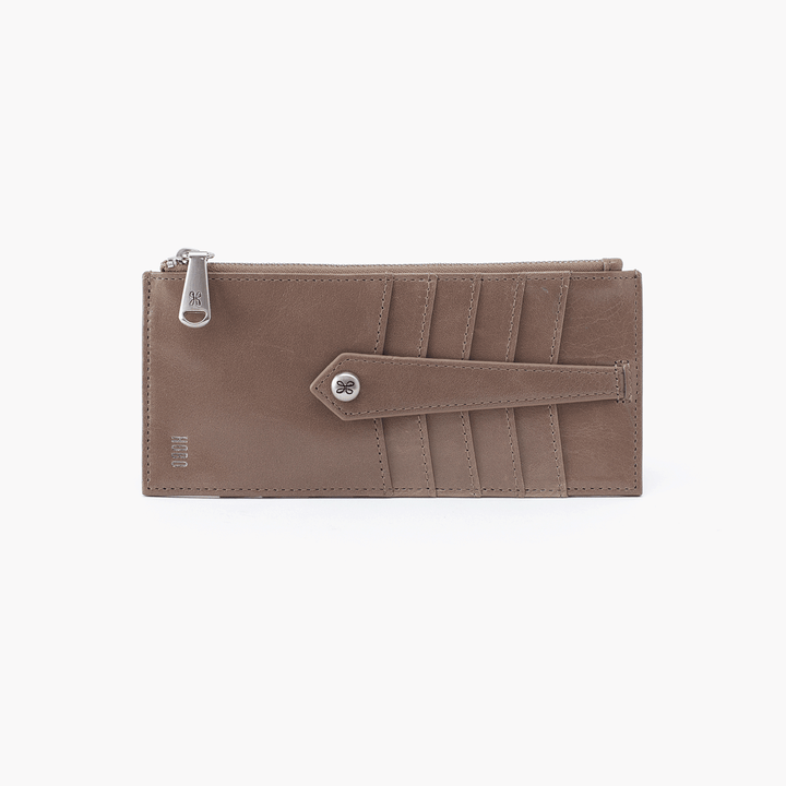 Linn Grey Taupe Leather Credit Card Wallet