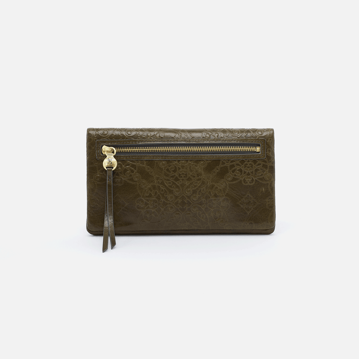 Lumen Embossed Green Leather Wallet