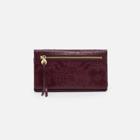 Lumen Embossed Purple Leather Wallet