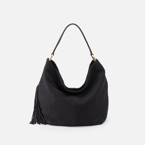 Meridian Black Leather Hobo Shoulder Bag