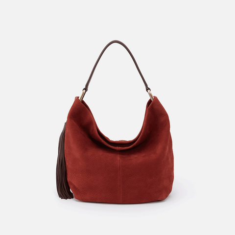 Meridian Red Suede Leather Hobo Shoulder Bag