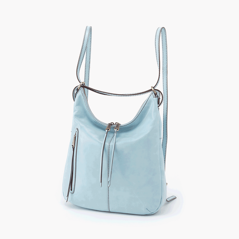 Merrin Blue Leather Backpack Bucket Bag