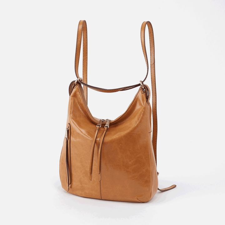 Merrin Cognac Brown Leather Backpack & Bucket Bag