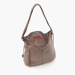 Merrin Grey Taupe Leather Backpack Bucket Bag