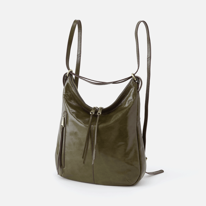 Merrin Green Leather Convertible Backpack Shoulder Bag