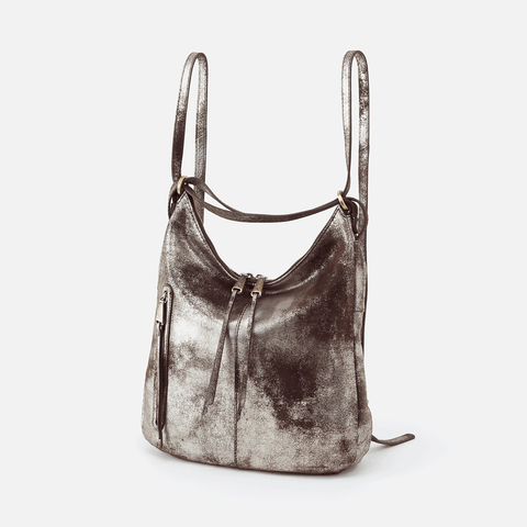 Merrin Silver Leather Convertible Backpack Shoulder Bag