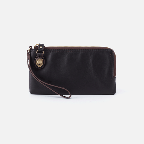 Mila Black Leather Wristlet