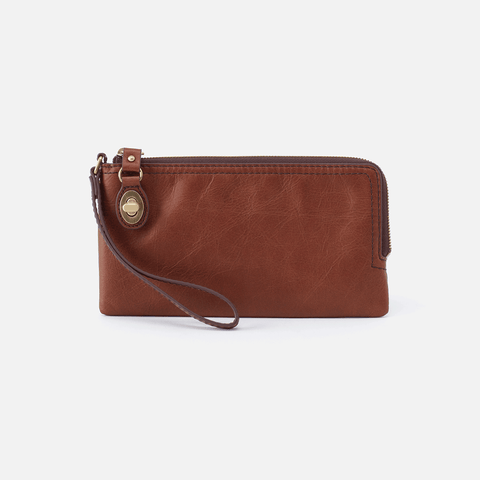 Mila Brown Leather Wristlet