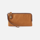 Mila Cognac Brown Leather Wristlet