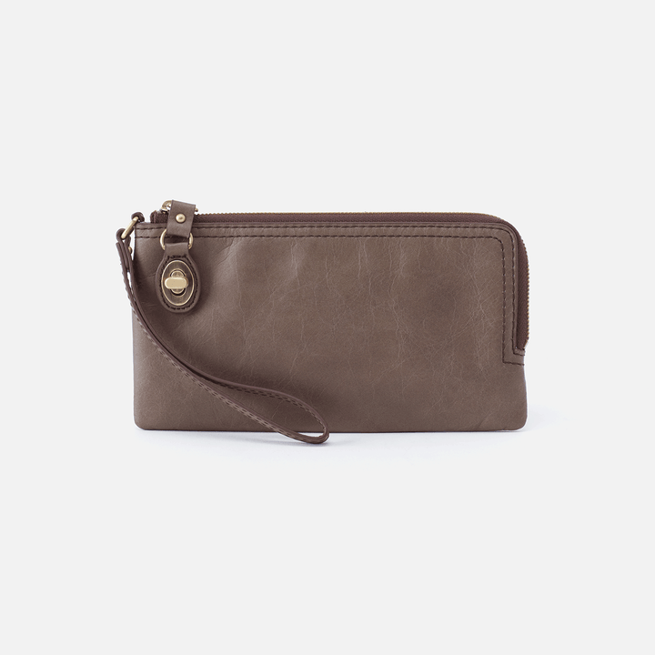 Mila Grey Leather Wristlet
