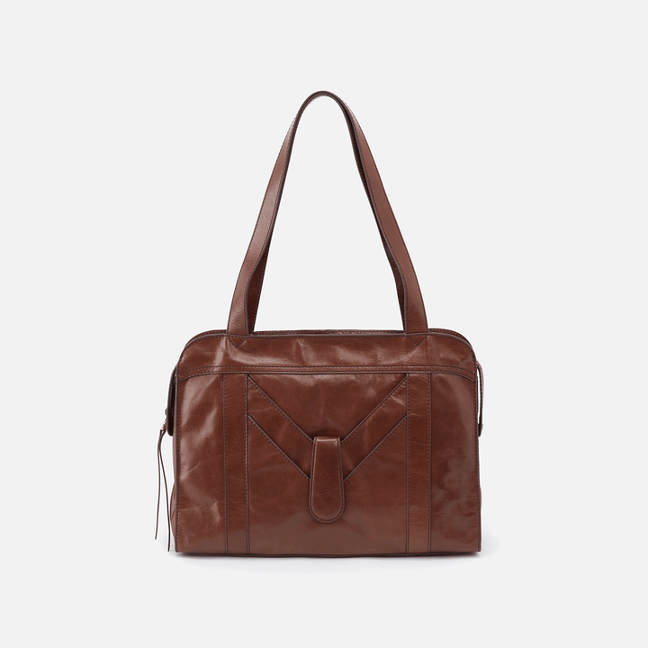 Motif Brown Leather Shoulder Bag